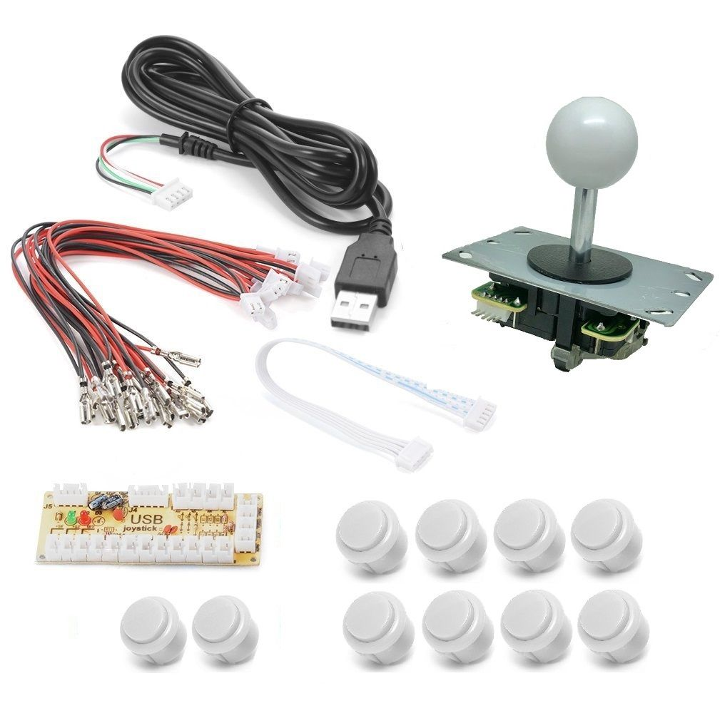 Kit Zero Delay Usb Arcade Sanwa Genérico Para Pc, Rasp, Ps3 - Branco