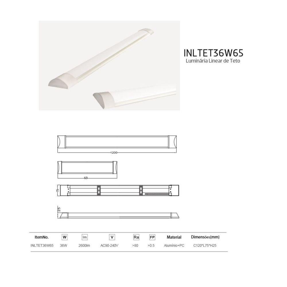 Luminária Led de Teto Linear 18W 60cm Branco Frio Bivolt