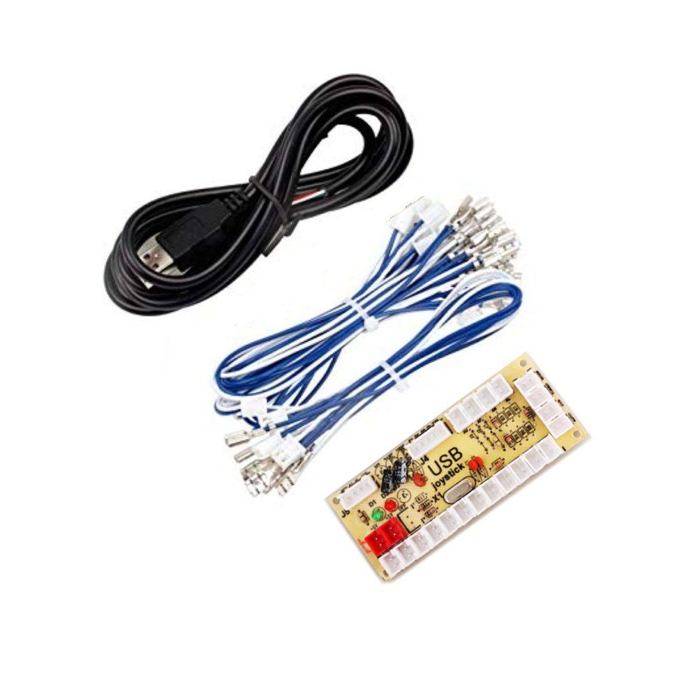 Placa Zero Delay Usb Arcade Joystick Para Raspberry Pi3 Pc Ps4 Conector 2.8mm tipo Sanwa