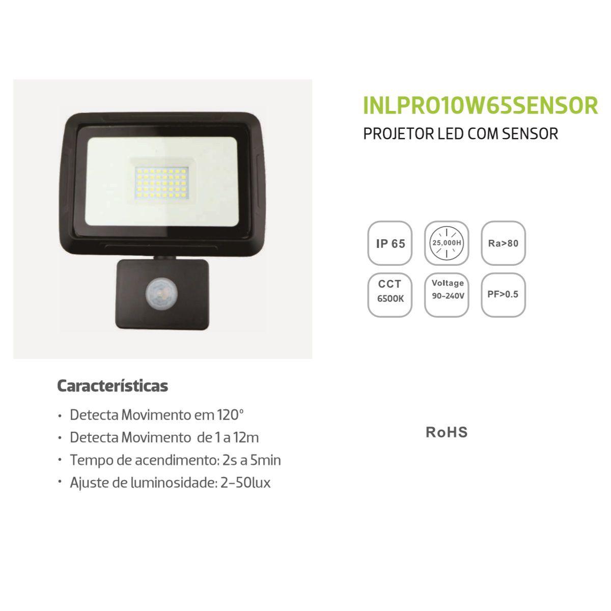 Projetor Led Super Slim 10W Com Sensor Branco Frio Bivolt