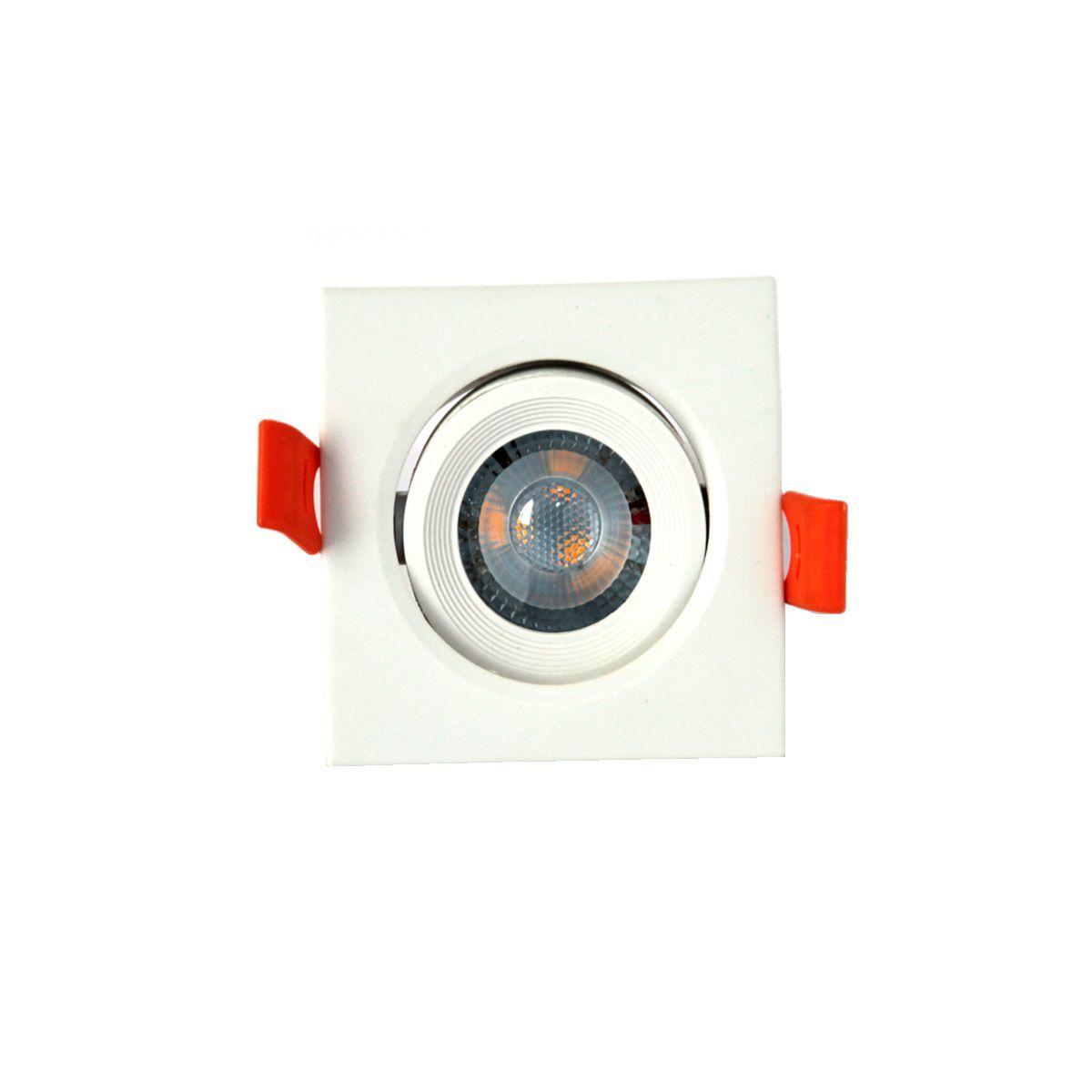 Spot Led Direcionável Quadrado 5W Branco Morno Bivolt
