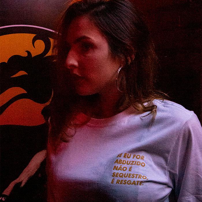 Camiseta Se Eu For Abduzido... - Branca