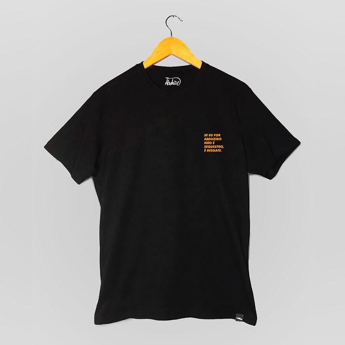 Camiseta Se Eu For Abduzido... - Preta