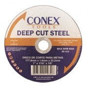 Disco de Corte Metal 7 Pol - 177,8 x 1,6 x 22,2 mm Conex - 25 unidades