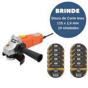 Esmerilhadeira Angular 4.1/2 Pol 220V 500W BELFIX +  Brinde Disco de Corte Inox 115 x 1,0 mm - 10 unidades