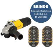 Esmerilhadeira Angular 600W 115mm STANLEY + Brinde Disco de Corte Inox 115 x 1,0 mm -  10 unidades