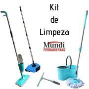 Kit de Limpeza Mundi Esfregão - Vassoura Mágica - Rodinho - Lustrador com Spray