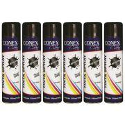 Tinta Spray Preta Metálica 350ml Conex Colors - 6 Unidades