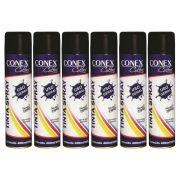 Tinta Spray Preto Brilhante 400ml Conex Colors - 6 Unidades