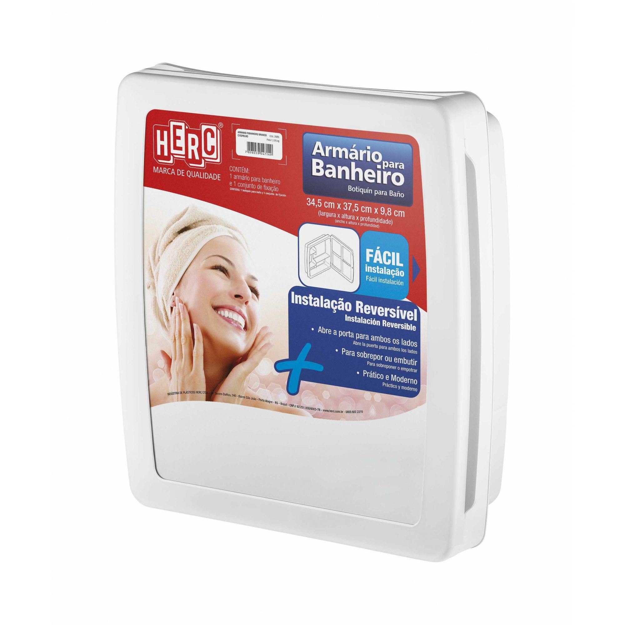 Armário para Banheiro Herc Com Espelho Branco
