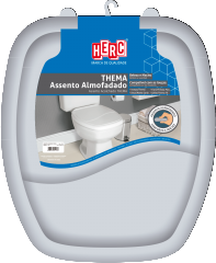 Assento Sanitário Almofadado Premium Thema Tampa Vaso Cinza HERC