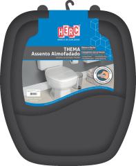 Assento Sanitário Almofadado Premium Thema Tampa Vaso Preto HERC