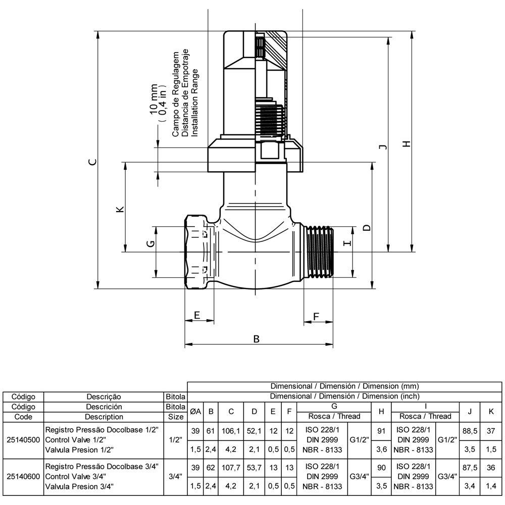 Base Registro Pressão 3/4 Pol DN20 DOCOL