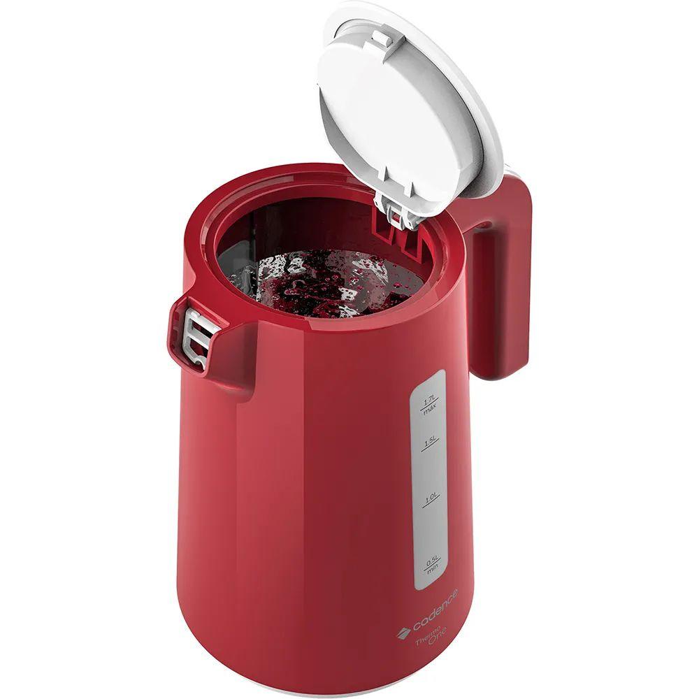 Chaleira Elétrica Cadence Thermo One Vermelha 1,7 Litros 220V 1800W