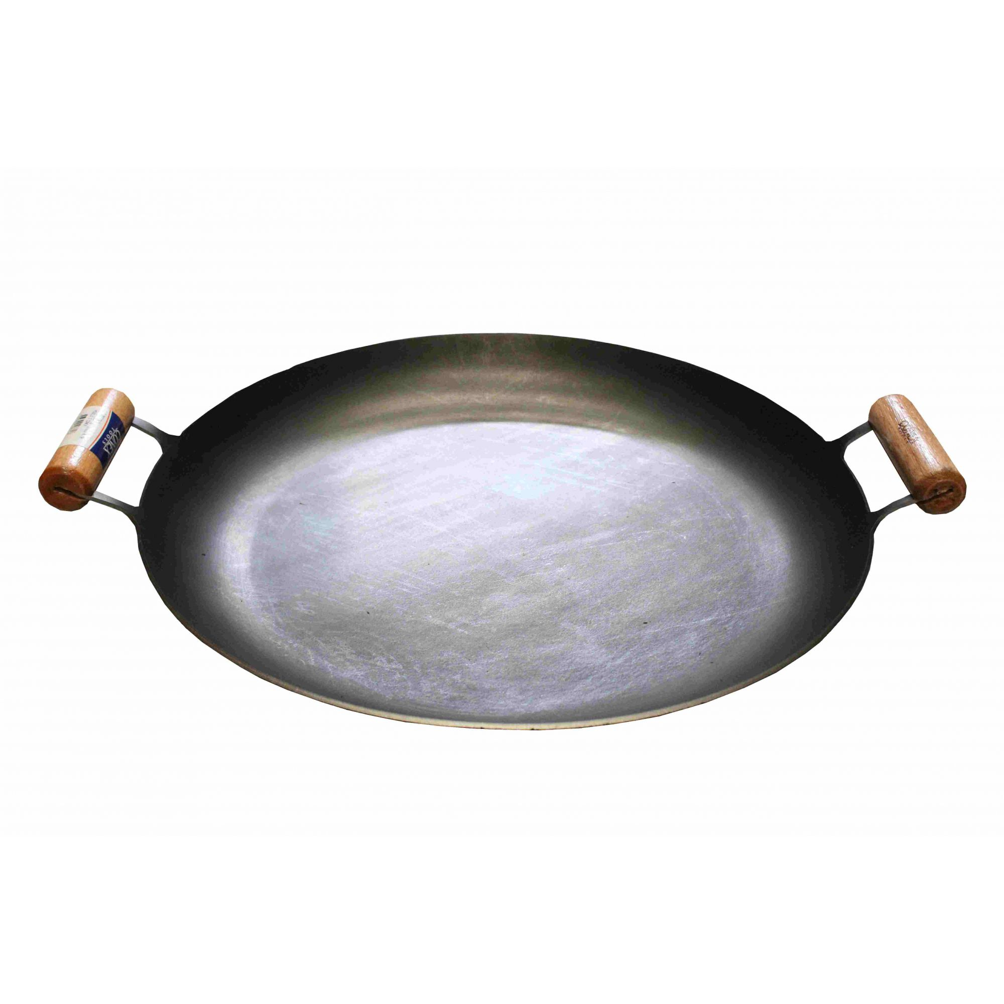 Chapa Bifeteira Disco de Arado Tacho de Aço com Borda e Cabo de Madeira Conex
