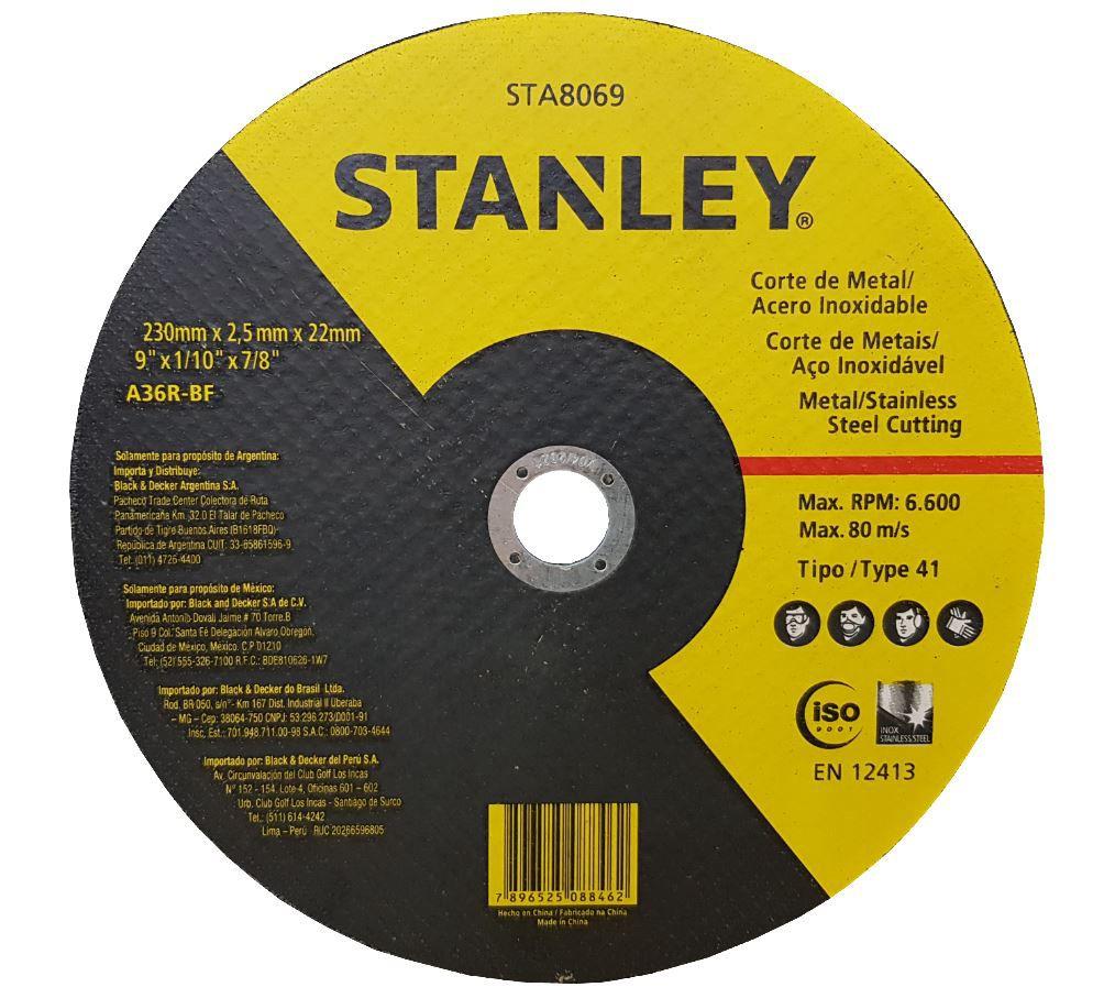 Disco de Corte Inox 9 Pol - 230 X 2,5 x 22,2 mm Stanley - 10 Unidades