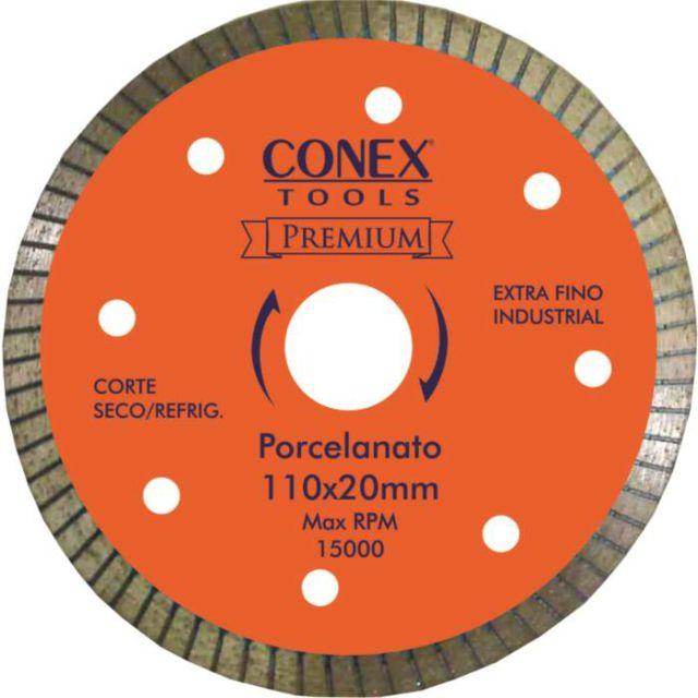 Disco Diamantado para Porcelanato Extra Fino 110mm Conex - Kit com 2 Unidades