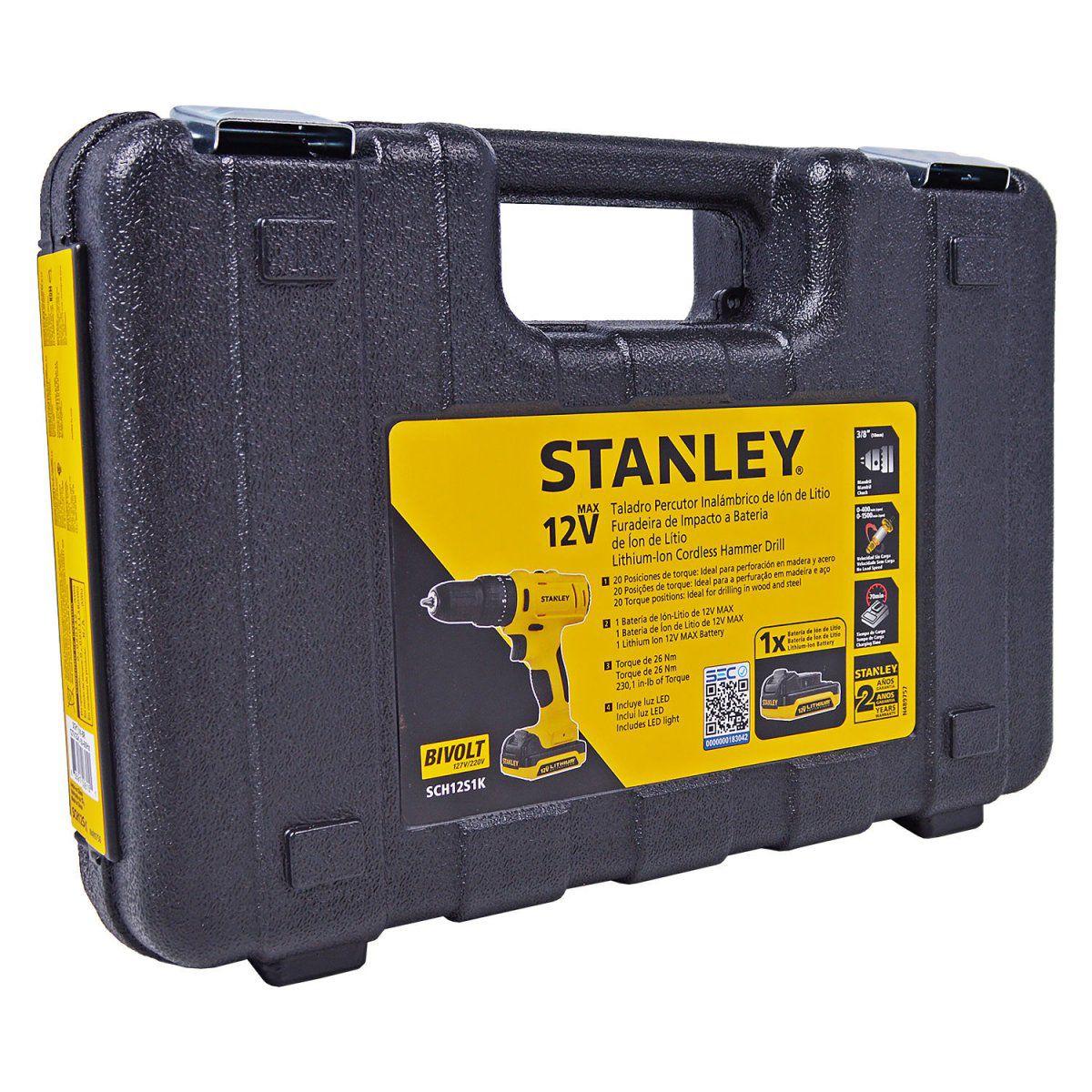 Furadeira Impacto Parafusadeira Stanley Bateria Lítio 12V Bivolt