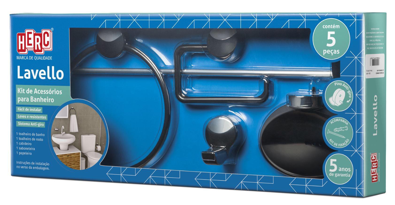 Kit de Acessórios para Banheiro Herc Lavello Preto e Cromado com 5 Peças