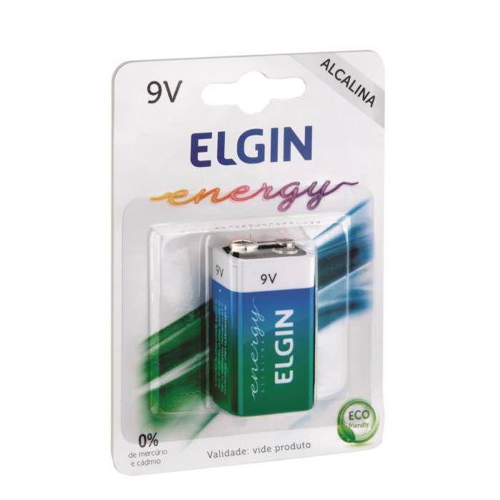 Bateria Pilha Alcalina 9V Quadrada 6LR61 Elgin - 6 Unidades