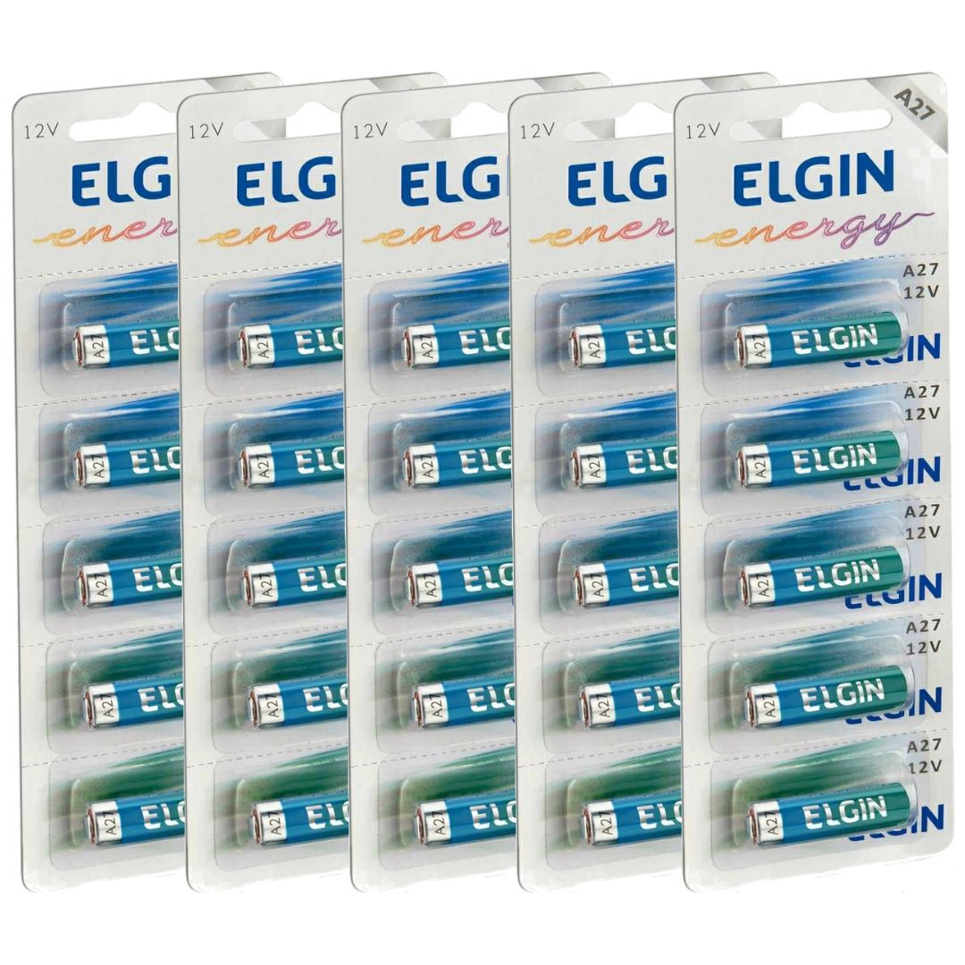 Pilha Bateria Alcalina A27 Elgin - 5 Unidades