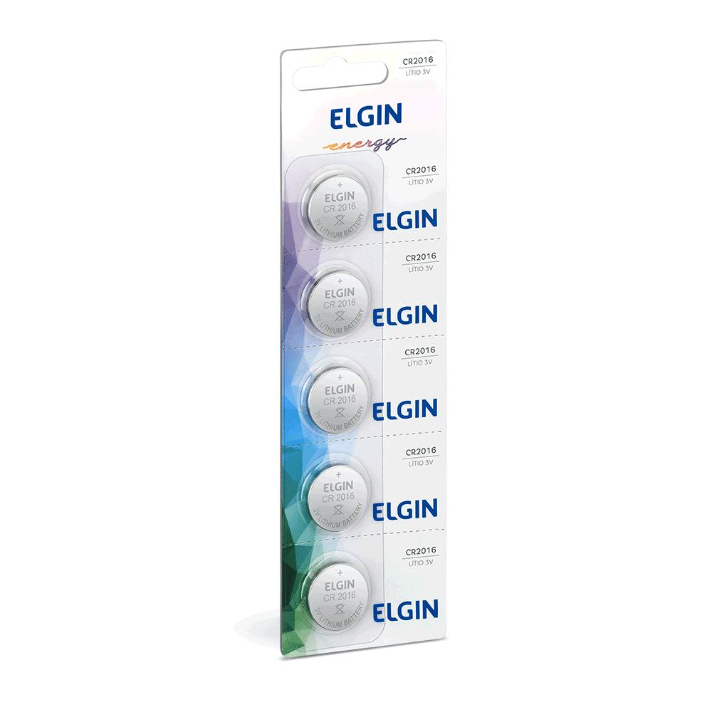 Pilha Bateria Botão Lítio 3V CR 2016 Elgin - 10 Unidades