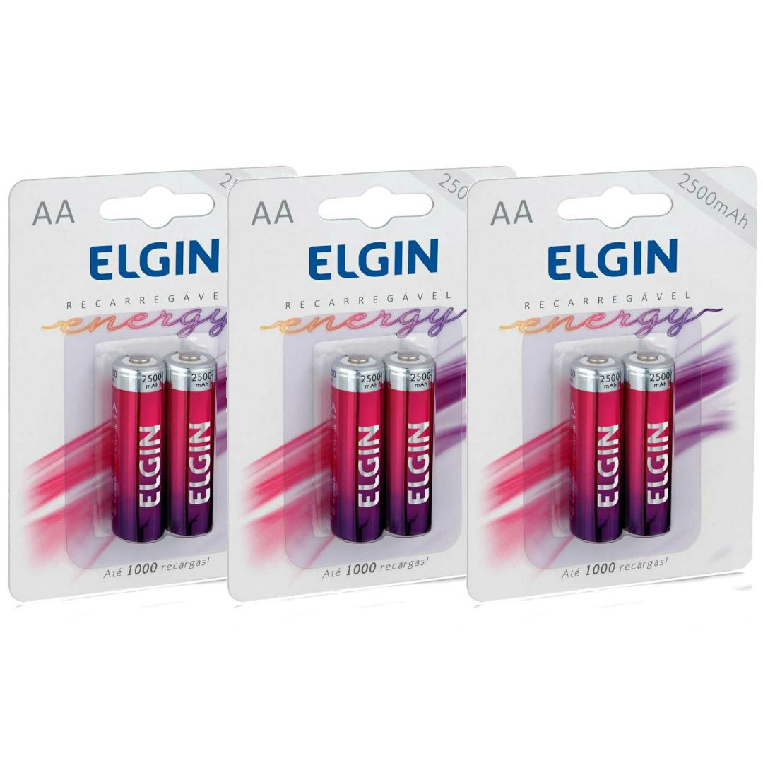 Pilha Recarregável AA Elgin - 3 Unidades