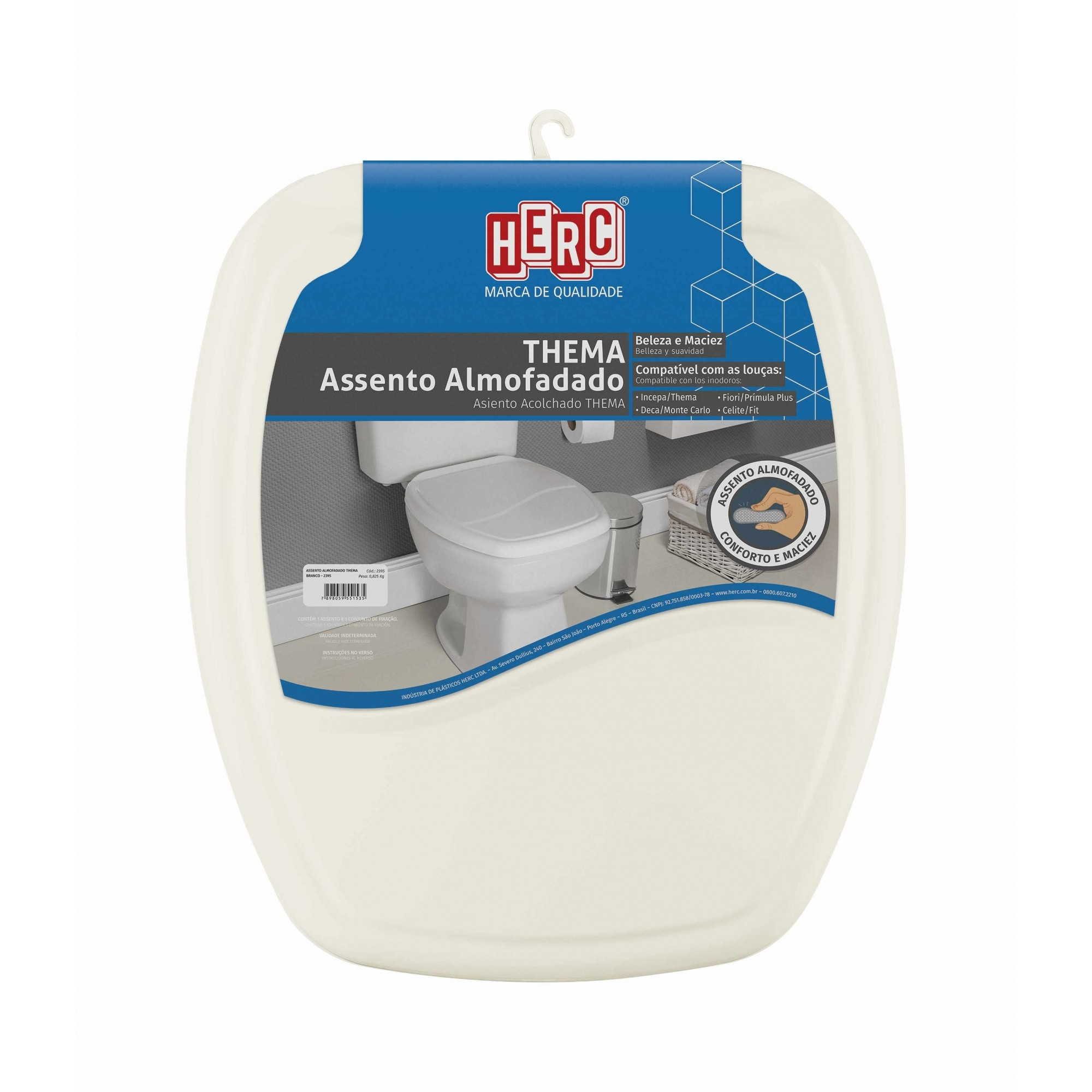 Tampa de Vaso Sanitário Bege Almofadado Premium Thema Herc