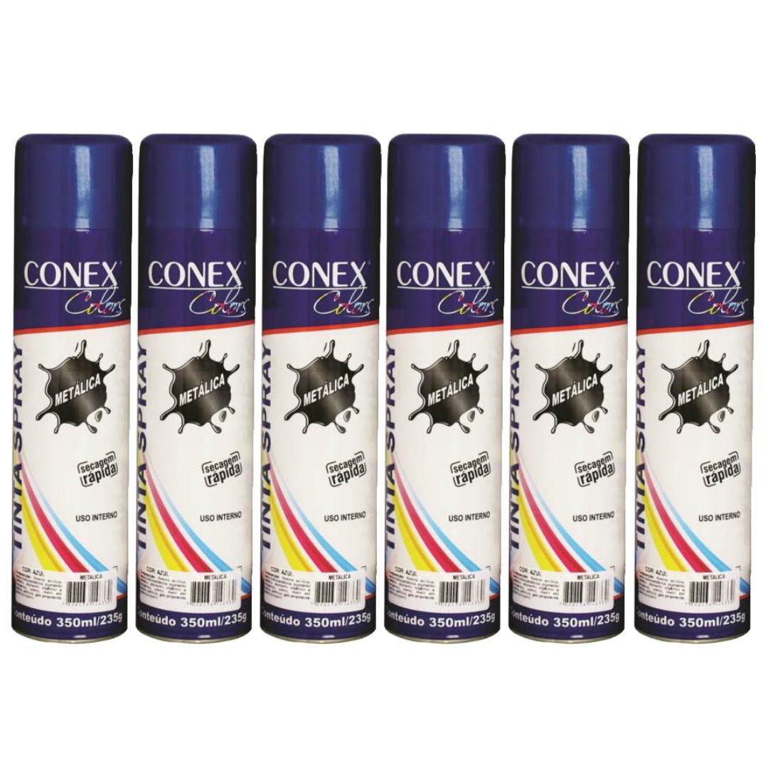 Tinta Spray Azul Metálica 350ml Conex Colors - 6 Unidades