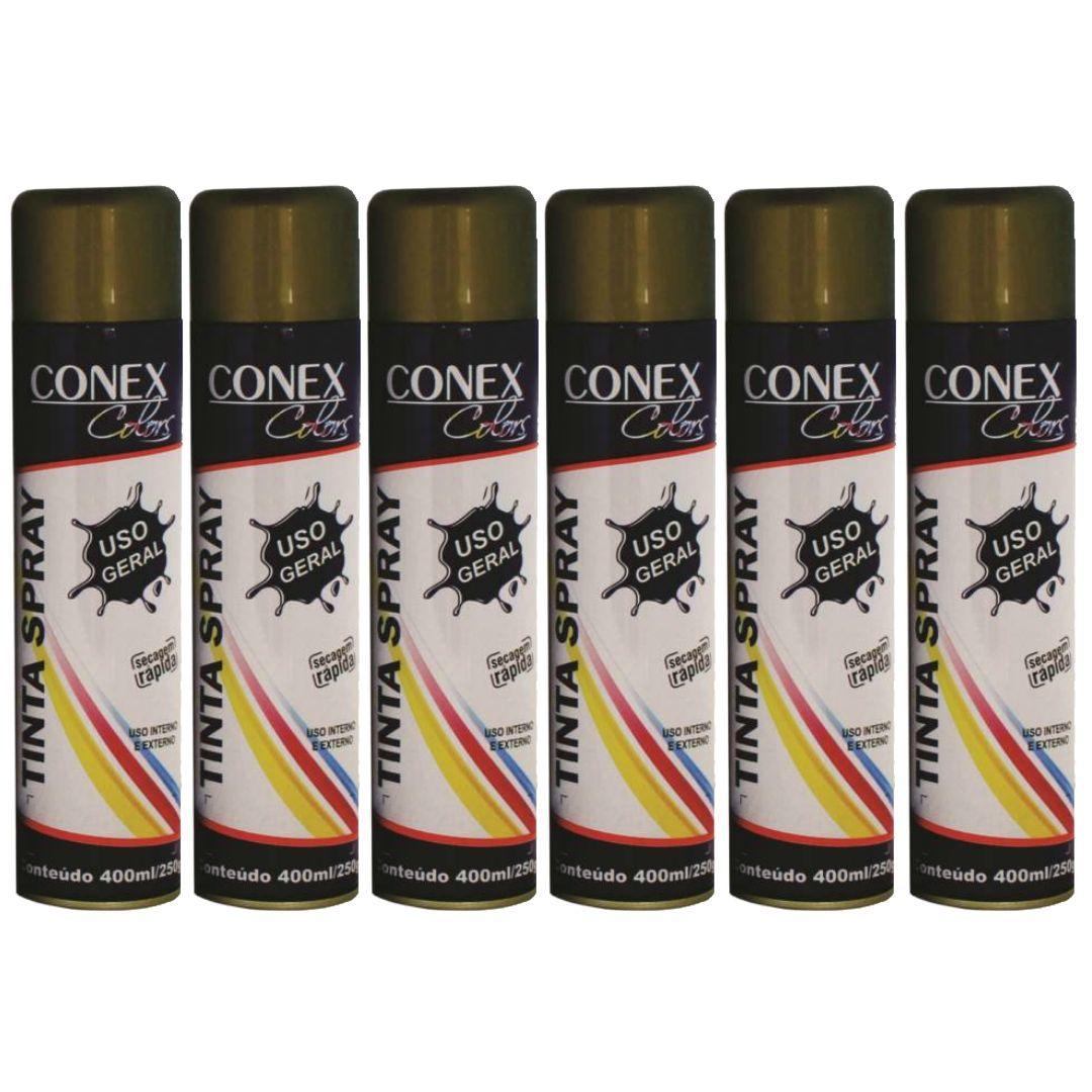 Tinta Spray Dourado 350ml Conex Colors - 6 Unidades