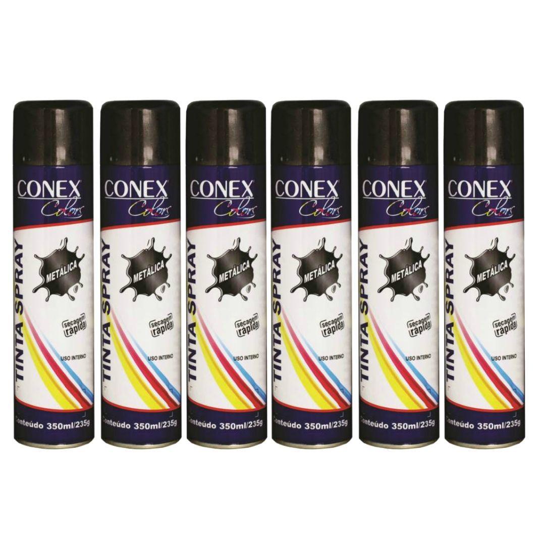 Tinta Spray Grafite Metálica 350ml Conex Colors - 6 Unidades