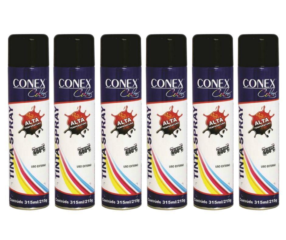 Tinta Spray Preto Fosco Alta Temperatura 315ml CONEX COLORS - 6 Unidades