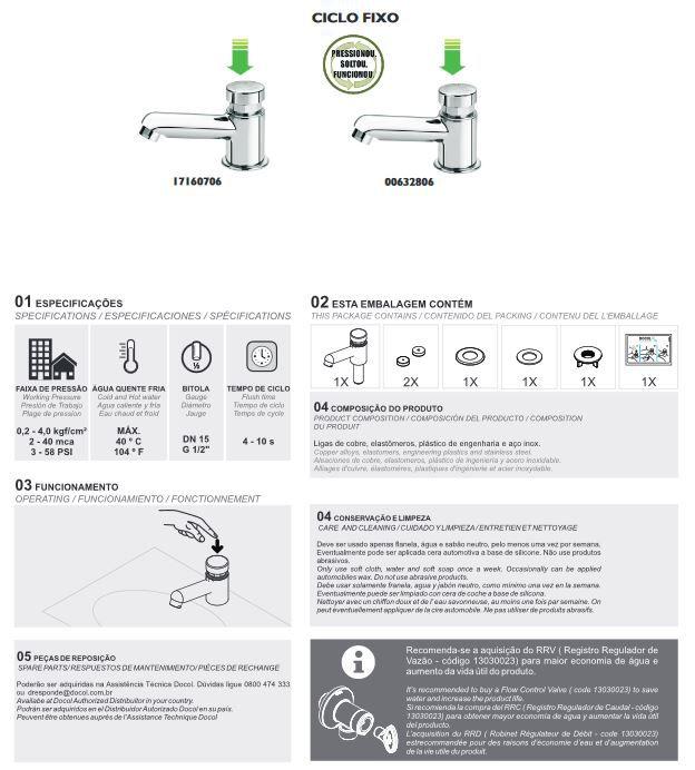 Torneira para Lavatório Docol de Mesa Automática Pressmatic Compact