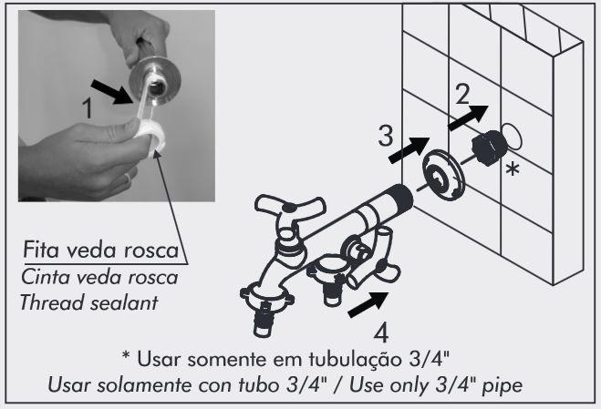 Torneira para Tanque Máquina Parede 3/4 Pol DN20 Docol