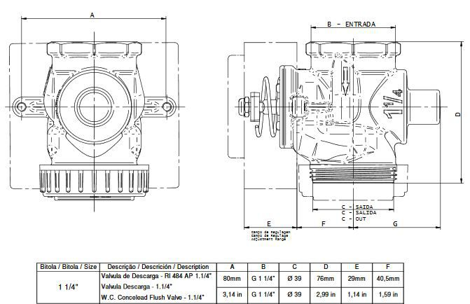 Válvula Descarga Docol 1.1/4 Pol Alta Pressão DN32