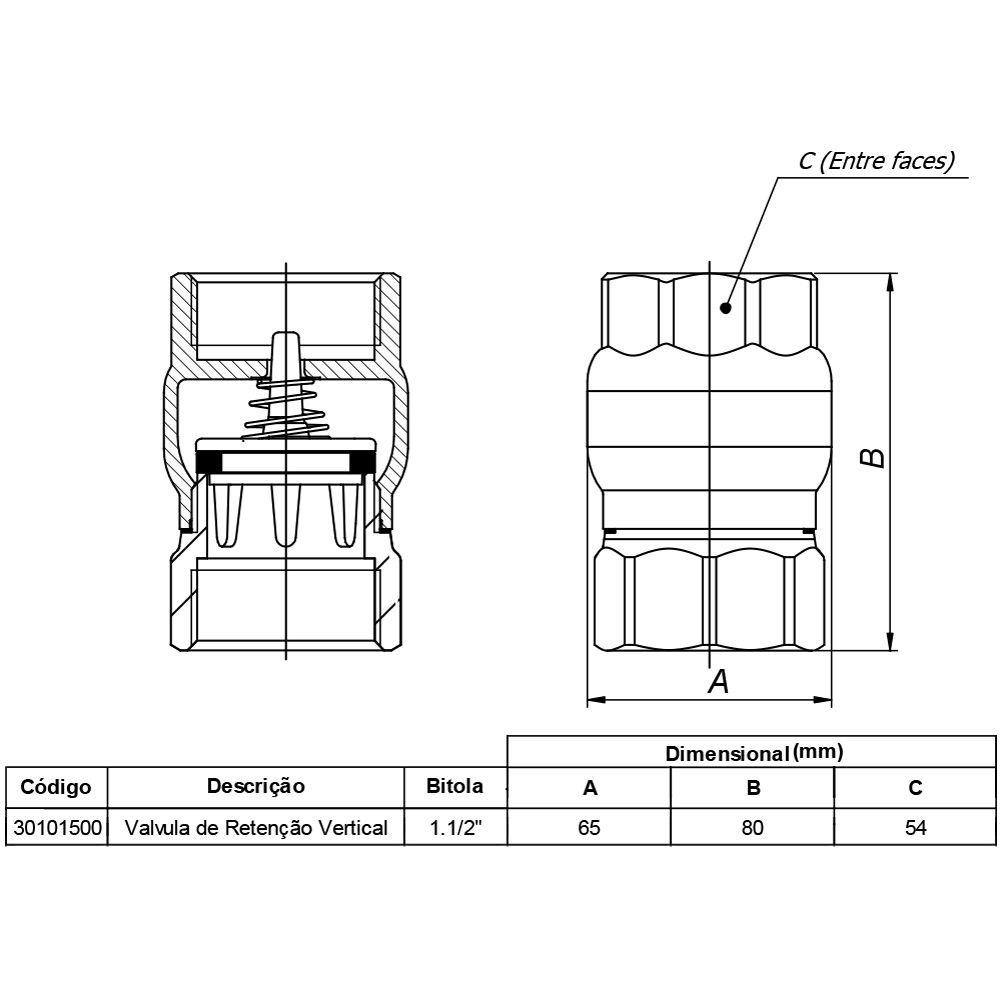 Válvula Docol Retenção Vertical 1.1/2 Pol DN40