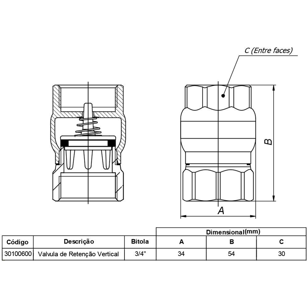 Válvula Docol Retenção Vertical 3/4 Pol DN20