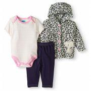 Conjunto Bon Bébé 3 peças com casaco de plush