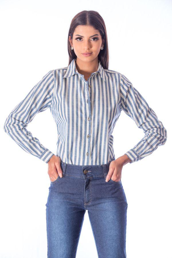 Camisa Listrada Slim Fit