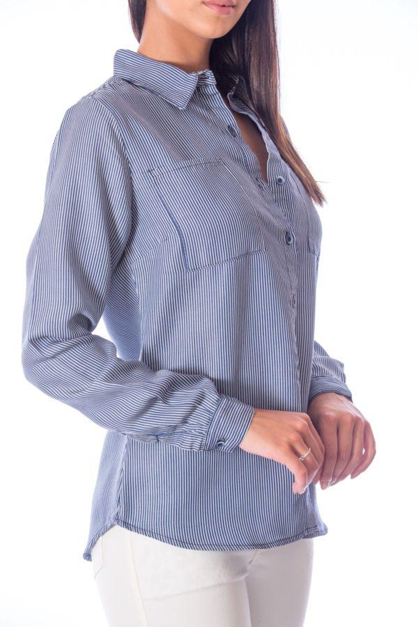 Camisa Listras Finas Azul
