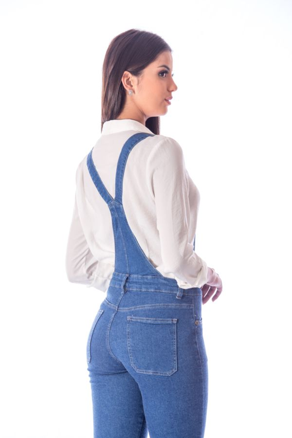 Macacão Jeans Slim Fit