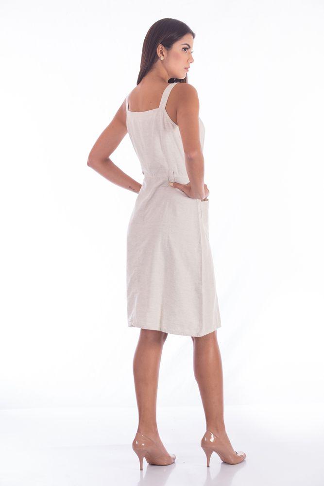 Vestido de Linho Aberto c/Alça