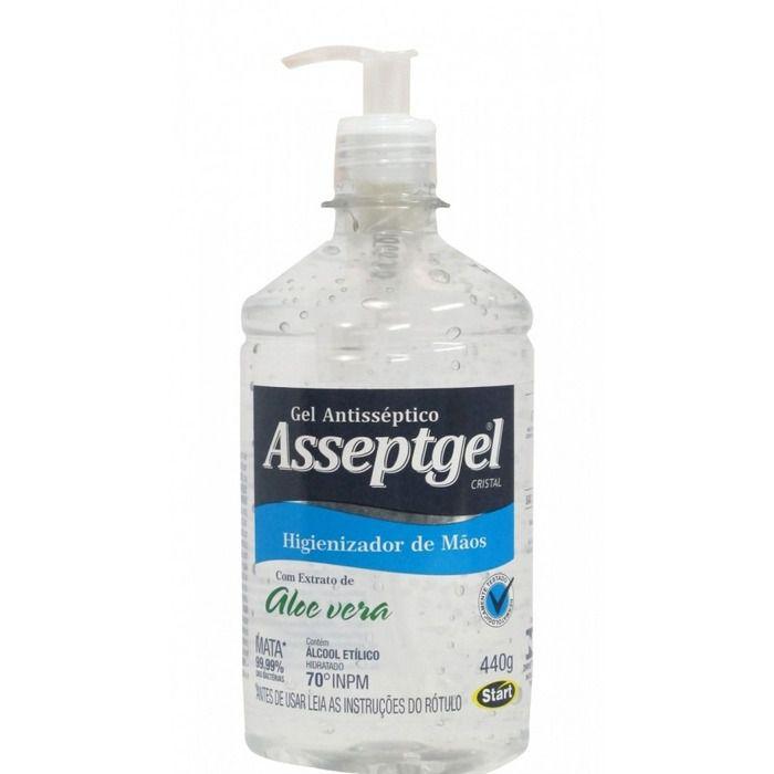 Álcool em Gel Antisséptico Cristal Aloe Vera 440G - Asseptgel