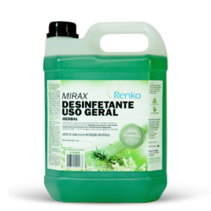 Desinfetante Mirax Alta Diluição Herbal 5L - Renko