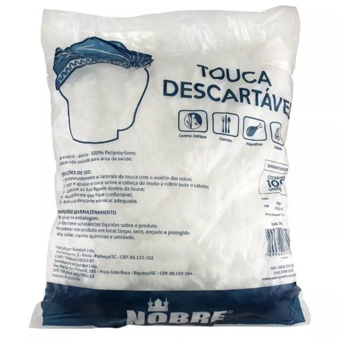 Touca Branca Descartável com 100 Unidades - Nobre