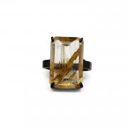 Anel Quartzo Rutilado Dourado
