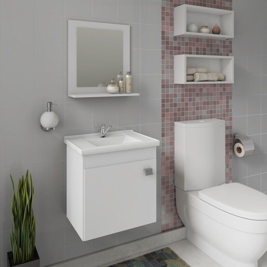 Gabinete Para Banheiro Com Pia E Espelheira íris Mgm