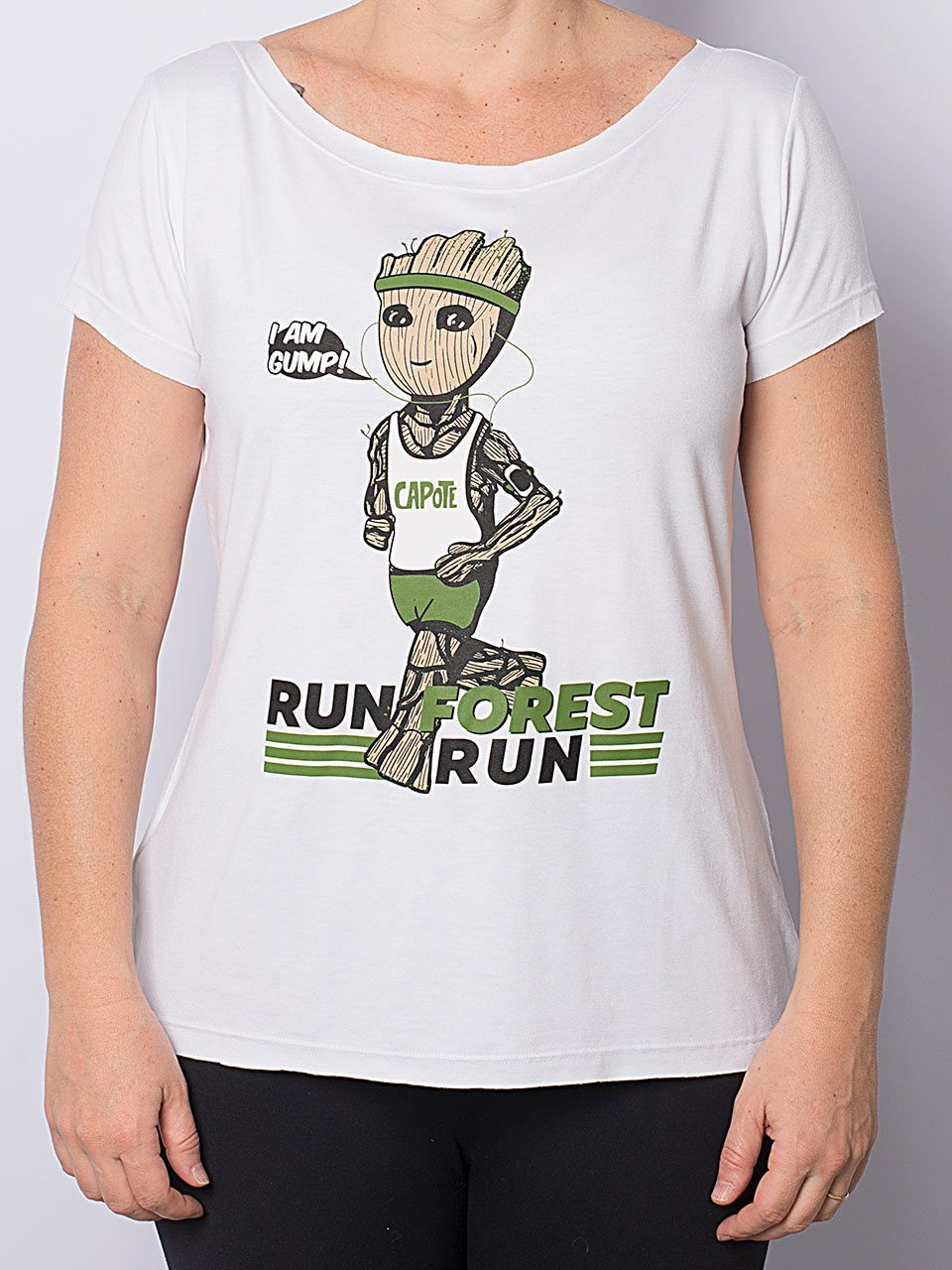 Camiseta Capote gola U RUN BABY GROOT