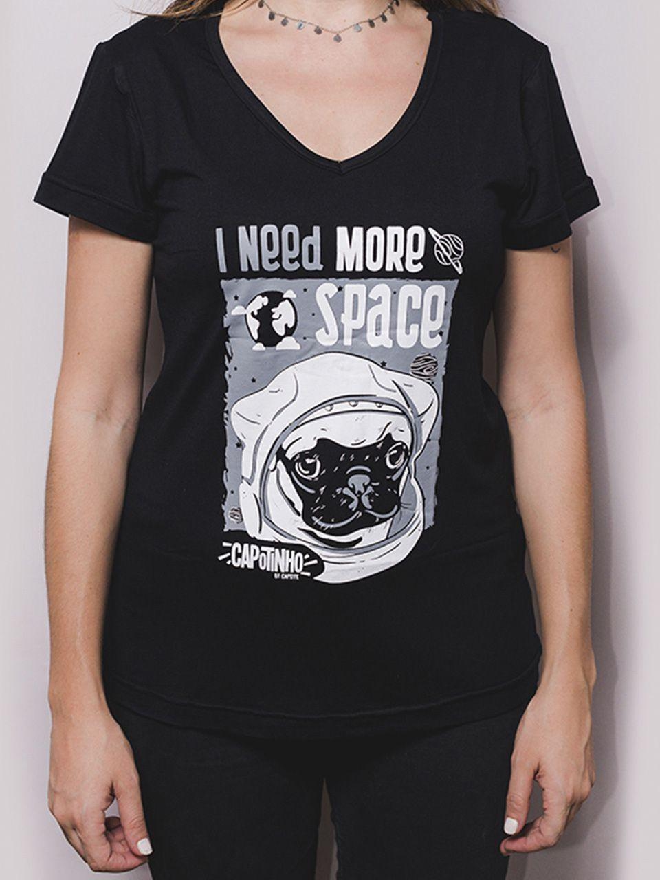 Camiseta Space  Adulta Feminina Gola V