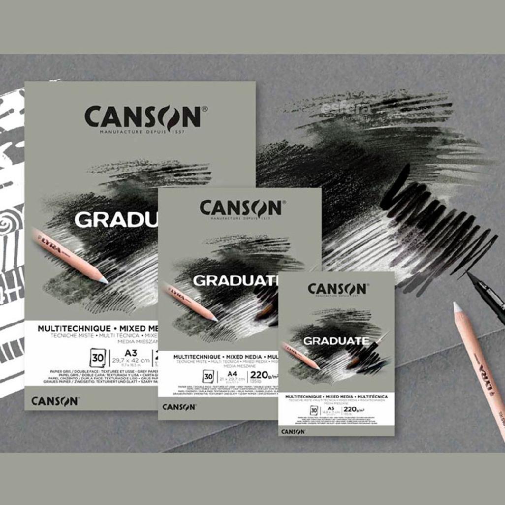 BLOCO GRADUATE MIXED MEDIA A4 COM 30 FOLHAS 220G CINZA CANSON